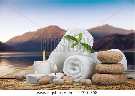 Stones towels basalt background nobody closeup beauty