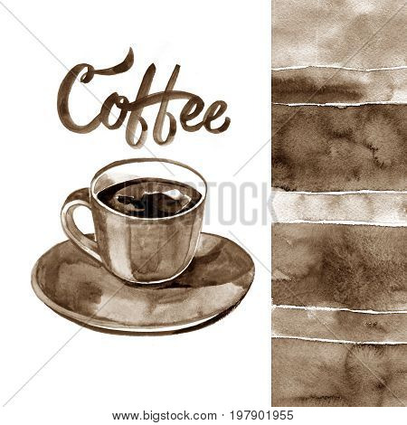 Hand painted illustration with cup of espresso and coffee beans
