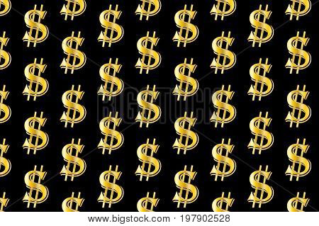 Golden dollar on black background - vector pattern