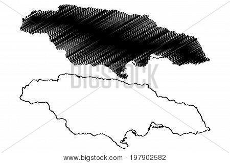 Jamaica map vector illustration , scribble sketch Jamaica