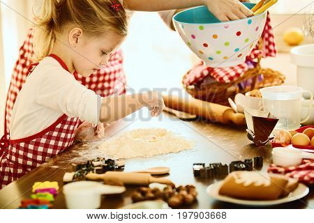 Happy Family In The Kitchen. Mother And Daughter Backing Cakes.