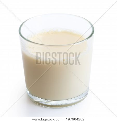 Glass Of Soya Milk With Froth Isolated On White.