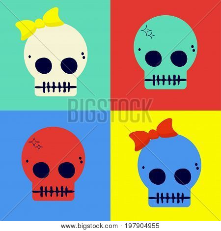Pop art styled flat vector illustration of cute skulls.  Could be also used as Day of the Dead sugar Skulls or as halloween poster or t-shirt print.