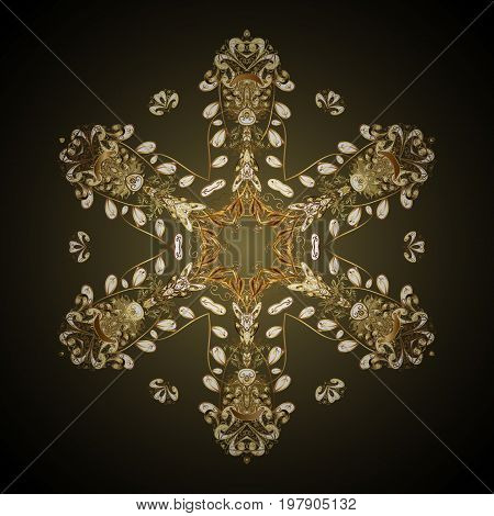 Stock vector illustration falling snow. Golden snowflakes snowfall stylized snow on colorful background. Design.