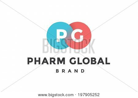 Emblem of business company with two circle, letter P, G, text Pharm. Logo template of two merged circles for brand. Logo, signs, labels, identity, badges for business brands. Vector Illustration
