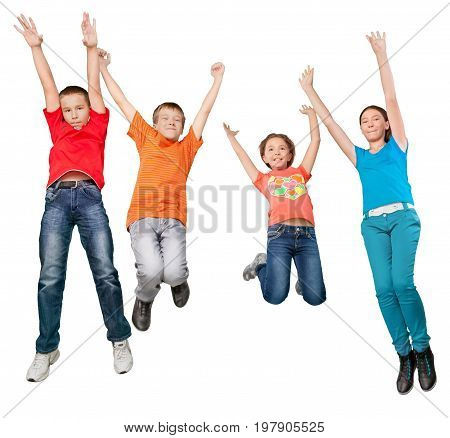 Kids fun group white small isolated bright
