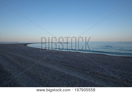 Dusk In Land Point In Els Terrers Beach In Benicassim