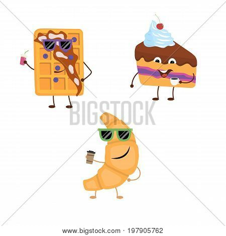 Set of funny characters from croissant, belgian waffle, cake. Vector illustration in cartoon style on a white background.