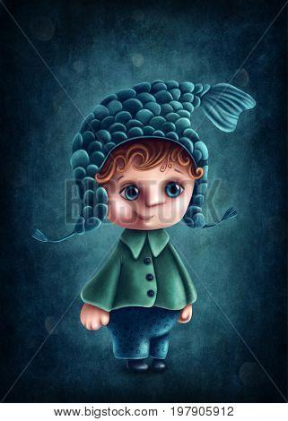 Illustration with pisces astrological sign boy
