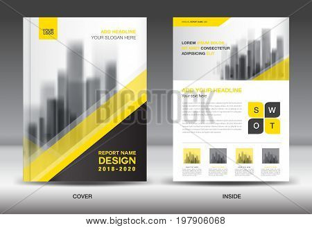Annual report brochure flyer template Yellow cover design business advertisement magazine ads catalog book infographics element vector layout in A4 size