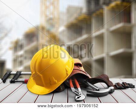 Yellow helmet head wear table color objects background