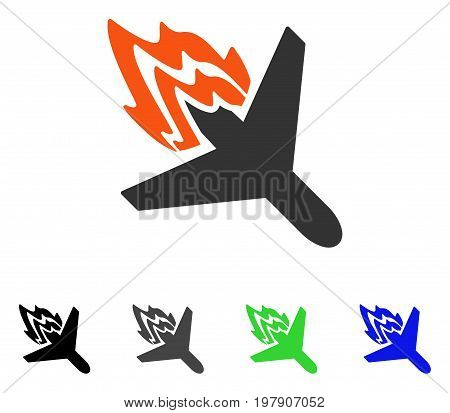 Air Crash flat vector pictograph. Colored air crash gray, black, blue, green pictogram versions. Flat icon style for graphic design.