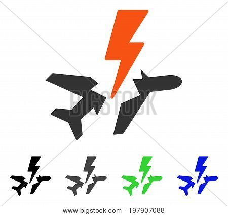 Aircraft Disaster flat vector icon. Colored aircraft disaster gray, black, blue, green icon variants. Flat icon style for graphic design.