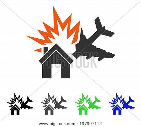 Aircraft House Collision flat vector illustration. Colored aircraft house collision gray, black, blue, green icon variants. Flat icon style for application design.
