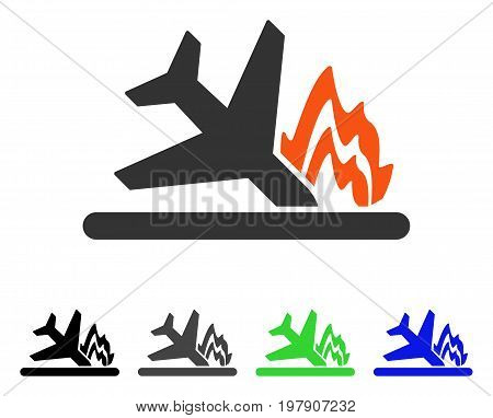 Airplane Crash flat vector pictogram. Colored airplane crash gray, black, blue, green pictogram versions. Flat icon style for application design.