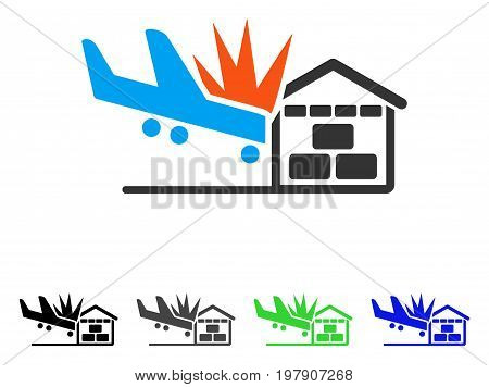Airplane Hangar Crash flat vector pictograph. Colored airplane hangar crash gray, black, blue, green pictogram variants. Flat icon style for graphic design.