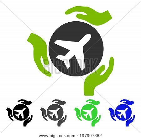 Aviation Care flat vector icon. Colored aviation care gray, black, blue, green icon variants. Flat icon style for application design.
