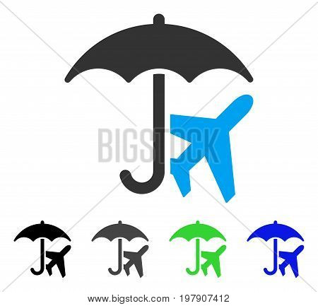 Aviation Umbrella flat vector pictograph. Colored aviation umbrella gray, black, blue, green pictogram variants. Flat icon style for web design.