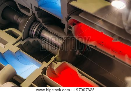 Model Of Gas Turbine Engine Planes In The Section