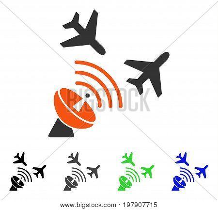 Flight Radar flat vector illustration. Colored flight radar gray, black, blue, green icon versions. Flat icon style for web design.