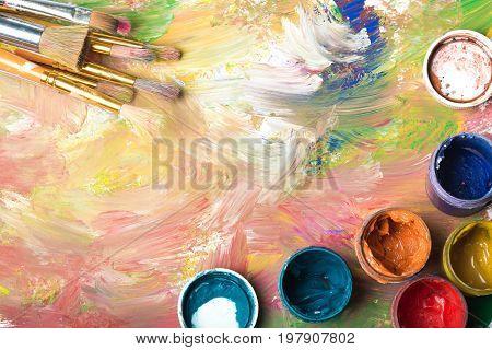 Oil paint palette paints close up top view color palette