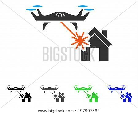 Laser Drone Attacks House flat vector pictograph. Colored laser drone attacks house gray, black, blue, green icon versions. Flat icon style for graphic design.