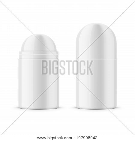 Round white glossy plastic dry deodorant antiperspirant stick. 40 ml. Realistic packaging mockup template. Front view. Vector illustration.