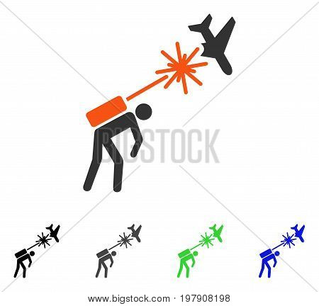 Terrorist Strikes Aircraft flat vector pictogram. Colored terrorist strikes aircraft gray, black, blue, green icon variants. Flat icon style for application design.