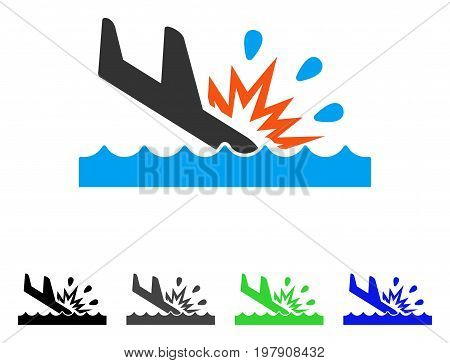 Water Air Crash flat vector pictograph. Colored water air crash gray, black, blue, green pictogram variants. Flat icon style for web design.