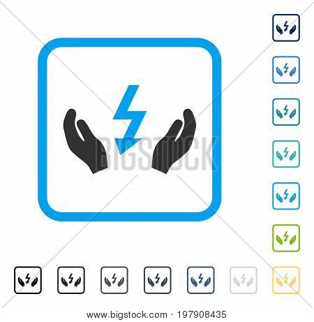 Electrical Power Maintenance Hands icon inside rounded rectangle frame. Vector illustration style is a flat iconic symbol in some color versions.