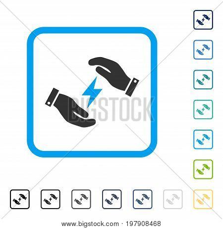 Electricity Care Hands icon inside rounded square frame. Vector illustration style is a flat iconic symbol in some color versions.