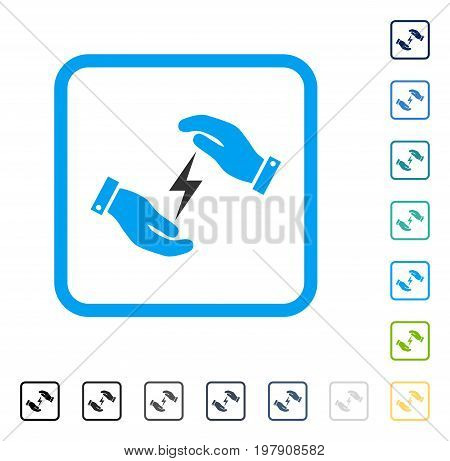 Electricity Supply Care Hands icon inside rounded square frame. Vector illustration style is a flat iconic symbol in some color versions.