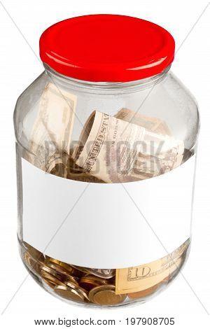 Money glass one jar dollar bills money background saving money