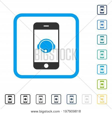 Smartphone Operator Contact Head icon inside rounded square frame. Vector illustration style is a flat iconic symbol in some color versions.