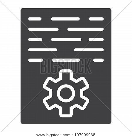 Article marketing glyph icon, seo and development, document sign vector graphics, a solid pattern on a white background, eps 10.