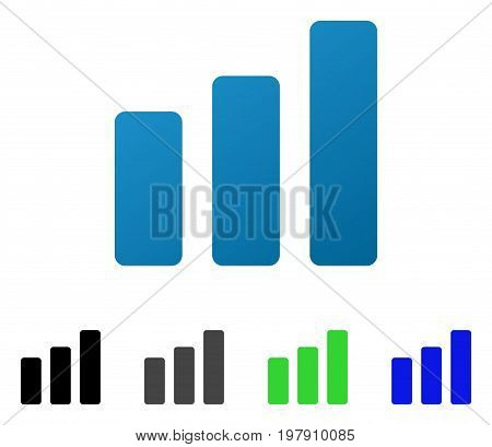 Bar Chart Increase flat vector icon. Colored bar chart increase gradient, gray, black, blue, green pictogram versions. Flat icon style for application design.