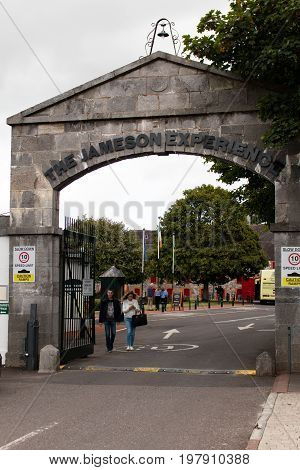 July 29th, 2017, Distillers Walk, Midleton, Co Cork, Ireland - Gate entrance to the Jameson Experience, an Irish whiskey museum and visitor centre located in the Old Midleton Distillery in Midleton