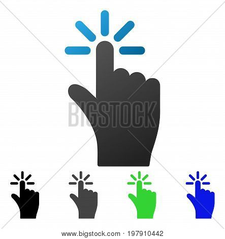 Finger Click flat vector pictograph. Colored finger click gradient, gray, black, blue, green icon versions. Flat icon style for web design.