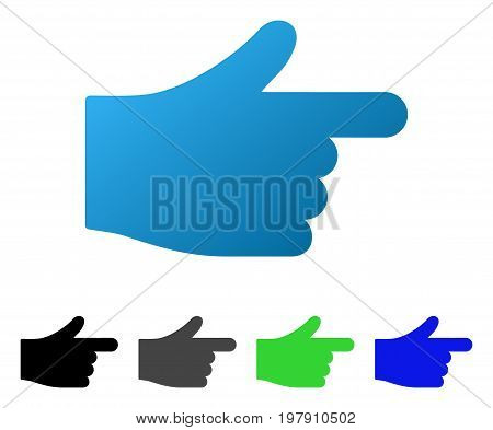 Hand Index Pointer flat vector pictogram. Colored hand index pointer gradient, gray, black, blue, green pictogram variants. Flat icon style for application design.