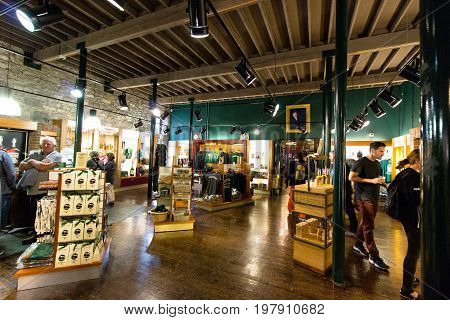 July 29th, 2017, Distillers Walk, Midleton, Co Cork, Ireland - Merchandise shop inside Jameson Experience, an Irish whiskey museum and visitor centre located in the Old Midleton Distillery in Midleton
