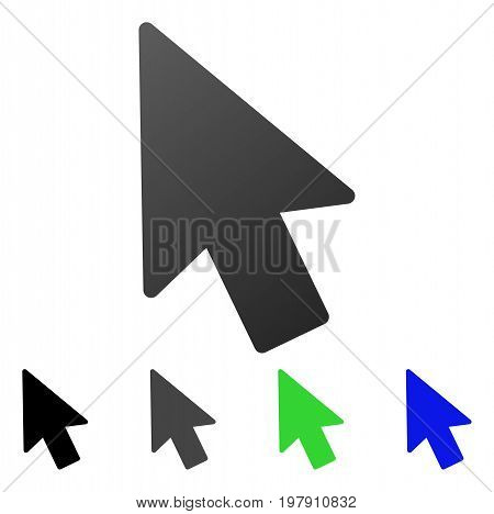 Mouse Pointer flat vector pictogram. Colored mouse pointer gradient, gray, black, blue, green pictogram variants. Flat icon style for web design.
