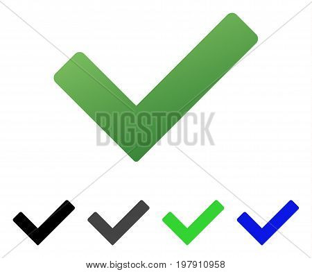 Ok Tick flat vector pictogram. Colored ok tick gradient, gray, black, blue, green pictogram variants. Flat icon style for application design.