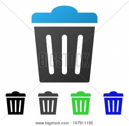 Trash Can flat vector illustration. Colored trash can gradient, gray, black, blue, green pictogram versions. Flat icon style for web design.