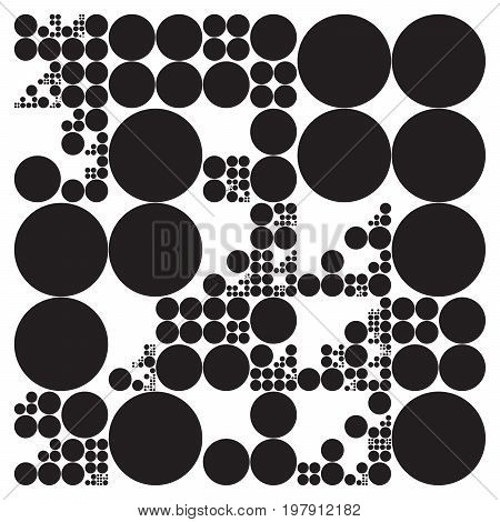 Subdivided circle grid system. Randomly sized spheres with fixed space between. Futuristic dot layout. Conceptual generative background. Procedural graphics. Creative coding