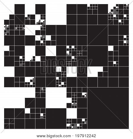 Subdivided squares grid system. Randomly sized polygons with fixed space between. Futuristic layout. Conceptual generative background. Procedural graphics. Creative coding