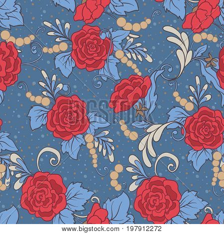 Floral seamless pattern, background with vintage style flowers  in red and blue colors.  Stock line vector illustration.