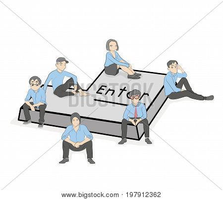Young people are sitting on the button Enter. vector illustration.