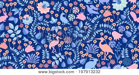 Seamless vector pattern with birds, hares, flowers and trees. Textile print with vintage motifs.