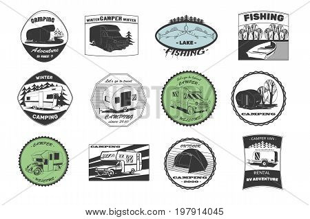 Vector illustration of Set vintage camping and outdoor adventure emblems, logos and badges. Camping equipment. Camp trailer in the forest.