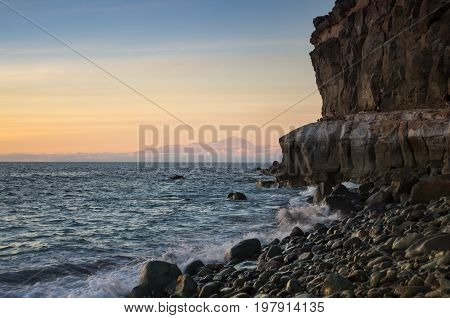 The coast of Atlantic ocean on sunset Gran Canaria Canary islands Spain